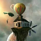 miniature Maison montgolfière