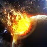 miniature Collision météorite vs planète