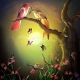 miniature Oiseaux amoureux