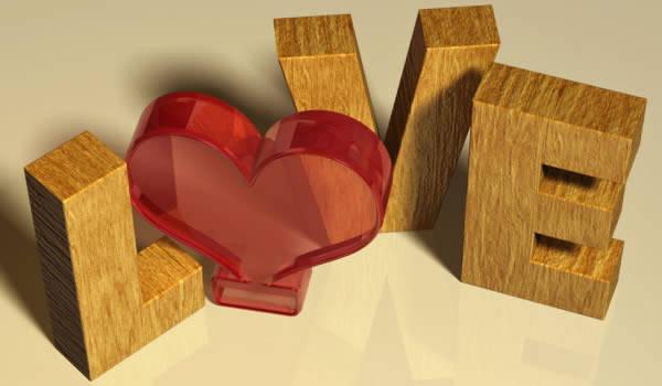 """Texte 3D """"coeur"""" pour la Saint Valentin"""