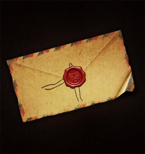 Vieille enveloppe avec sceau de cire