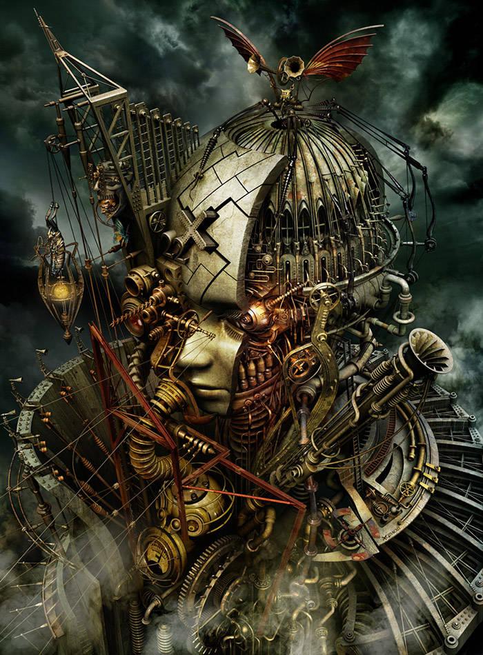 Statue tête mécanique