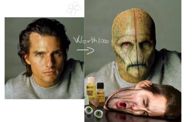 Transformer un visage en alien