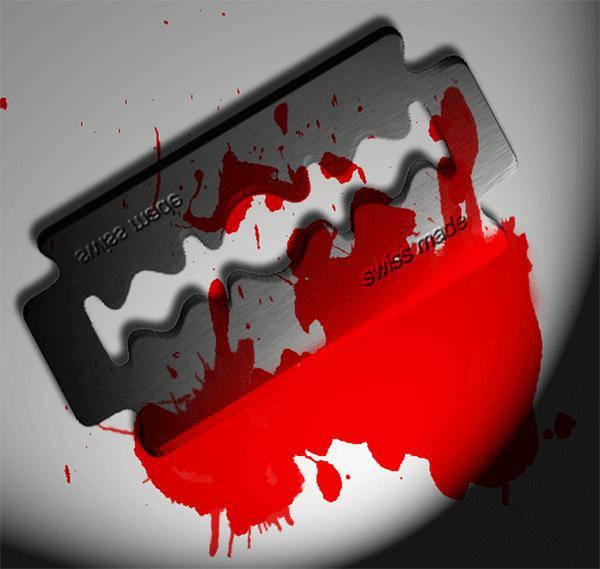 Lame de rasoir sanguinolente