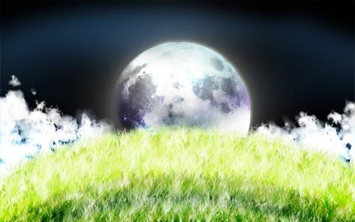 Colline au clair de lune