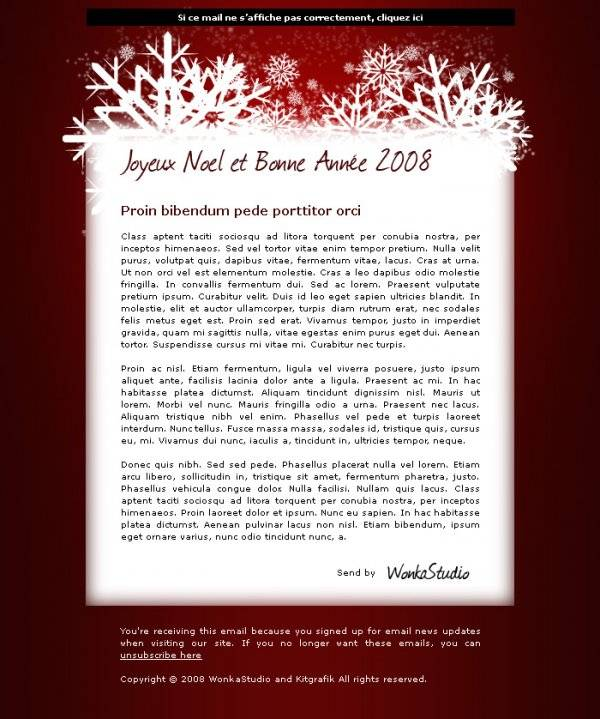 Webdesign newsletter Noël