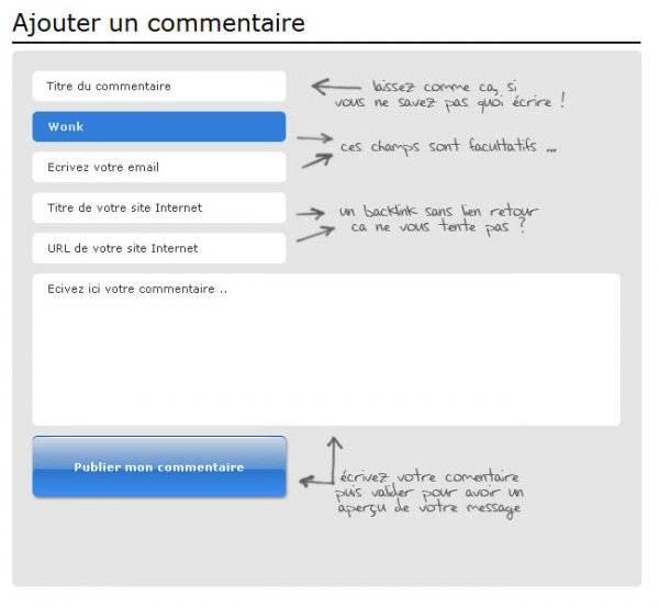 Webdesign d'un formulaire de commentaires