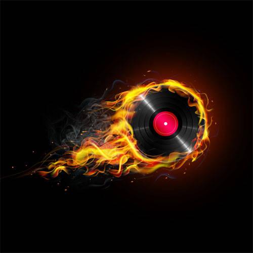 Disque vinyle en feu