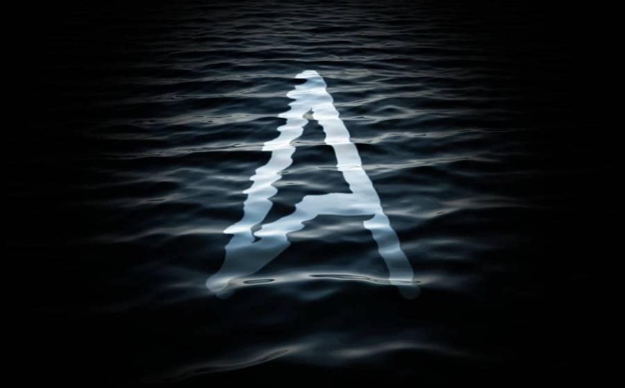 Texte dans l'eau