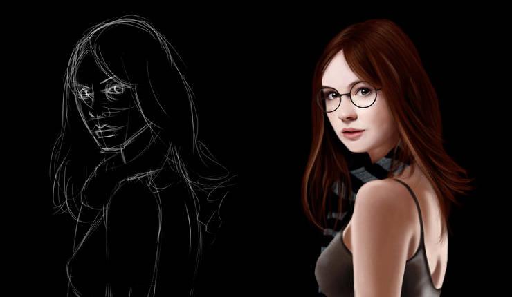 Dessiner le portrait d'une jeune femme