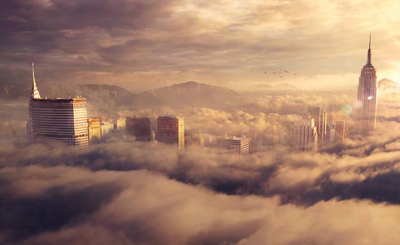 Ville dans les nuages