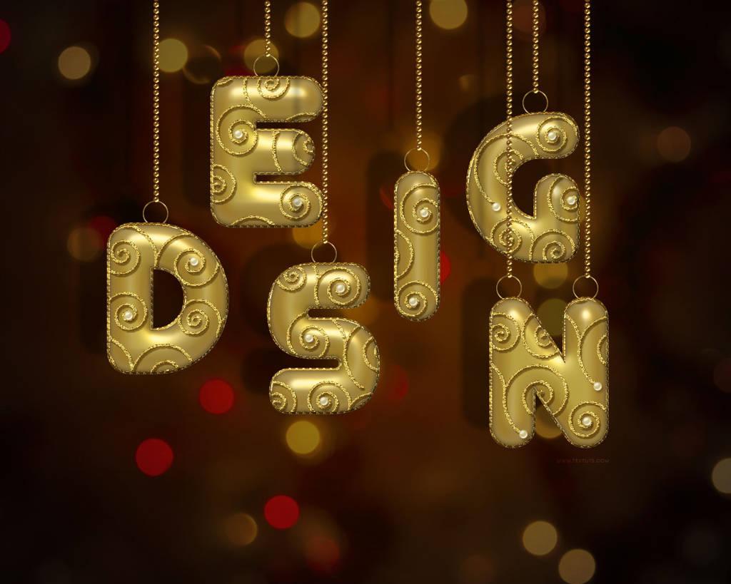 Boule de Noël en lettre d'or