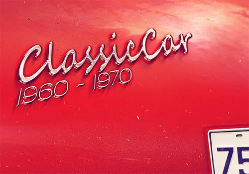 Logo chromé rétro 70s