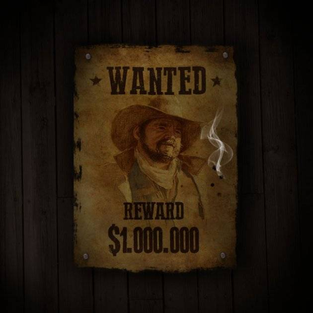 "Affiche de saloon ""wanted"""