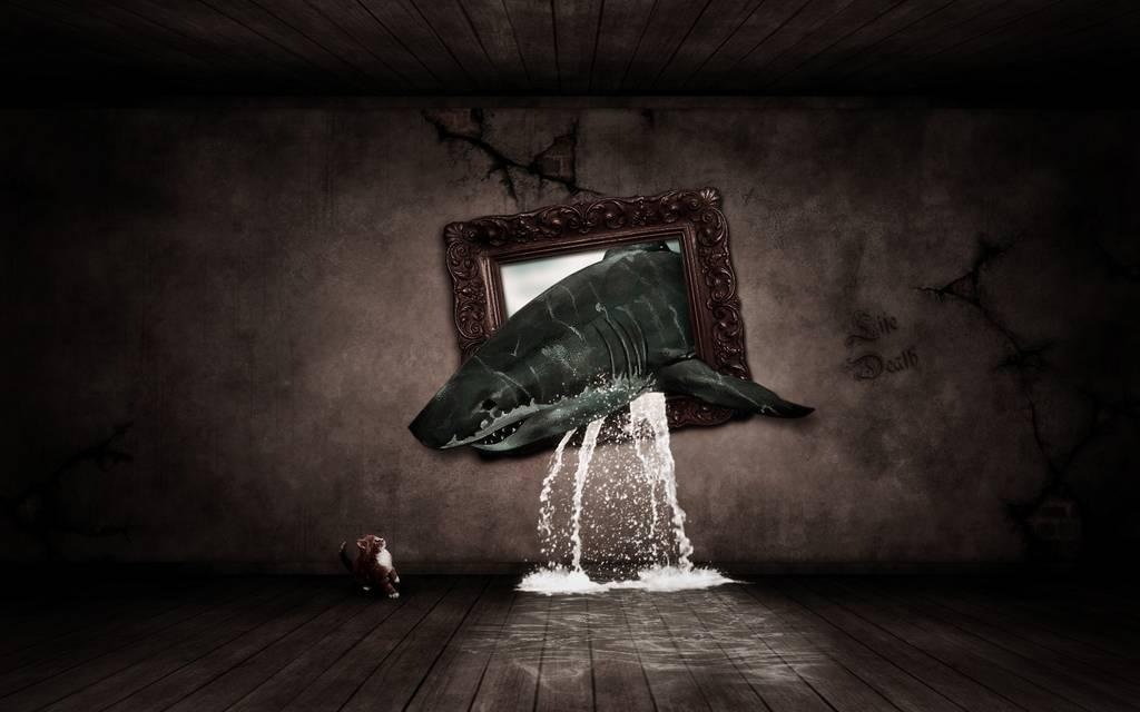 Requin sortant d'un tableau