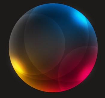 Sphère transparente avec reflets de couleurs