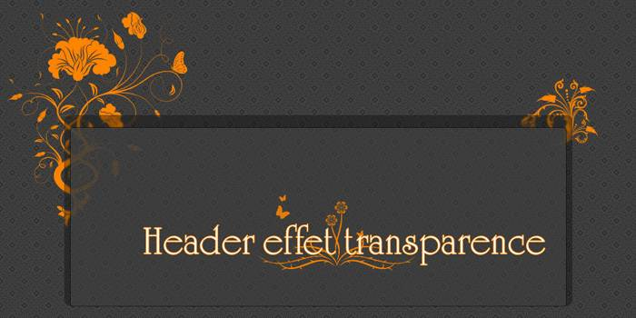 Header avec effet de transparence