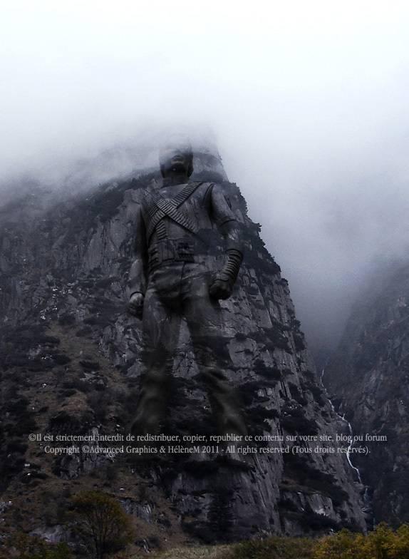 Intégrer une statue dans la montagne