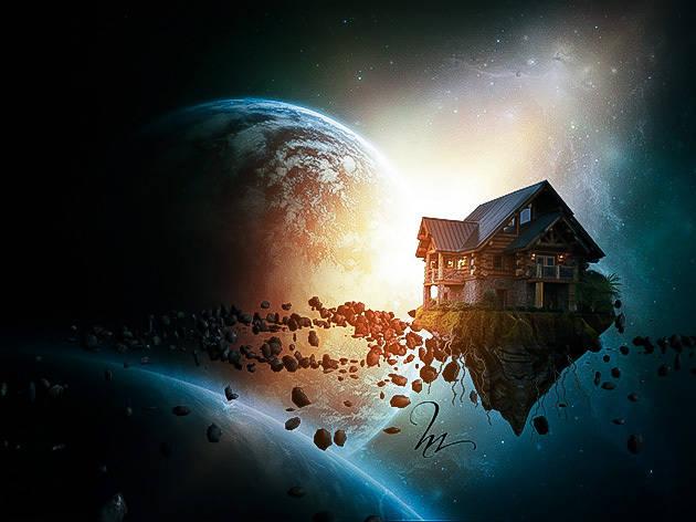"""Photomontage """"maison dans l'espace"""""""