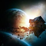 """miniature Photomontage """"maison dans l'espace"""""""