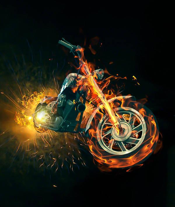 Moto enflammée des bikers de l'enfer