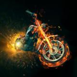 miniature Moto enflammée des bikers de l'enfer