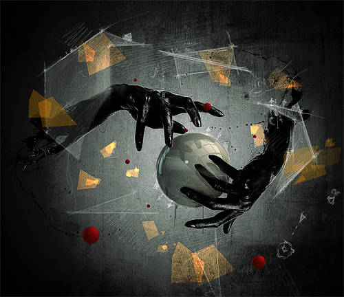 Mise en scène de la main dans l'espace abstrait