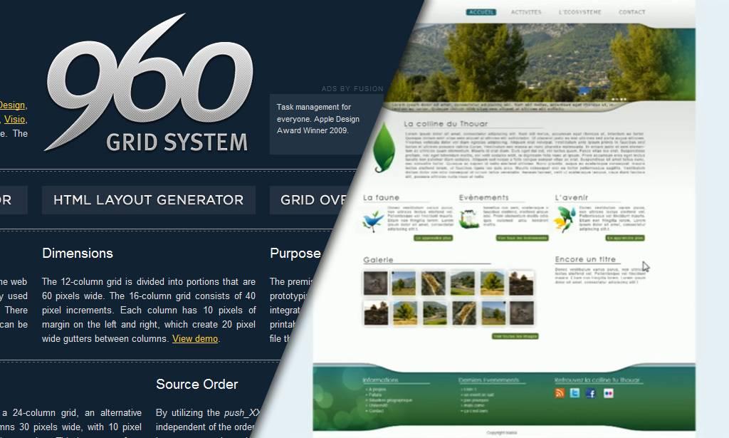 Créer un webdesign avec 960 grid system