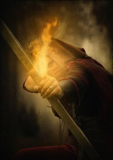 Assassin avec un arc aux flèches de feu