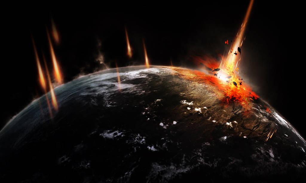 Crash d'astéroïde sur une planète avec Phtooshop