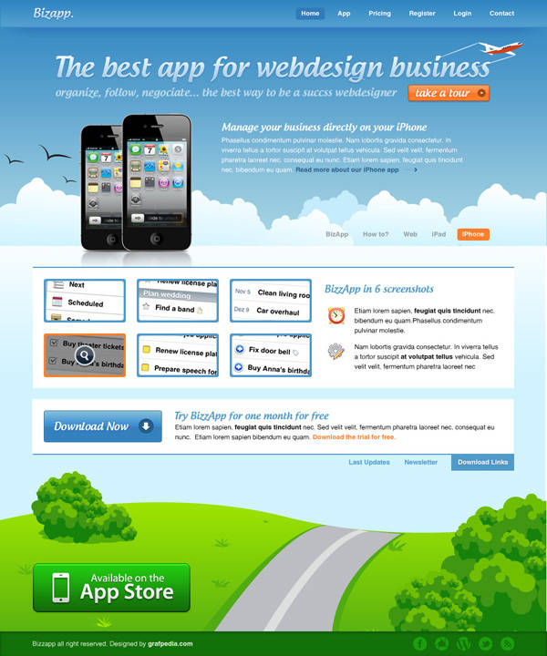Webdesign du site d'une application iPhone