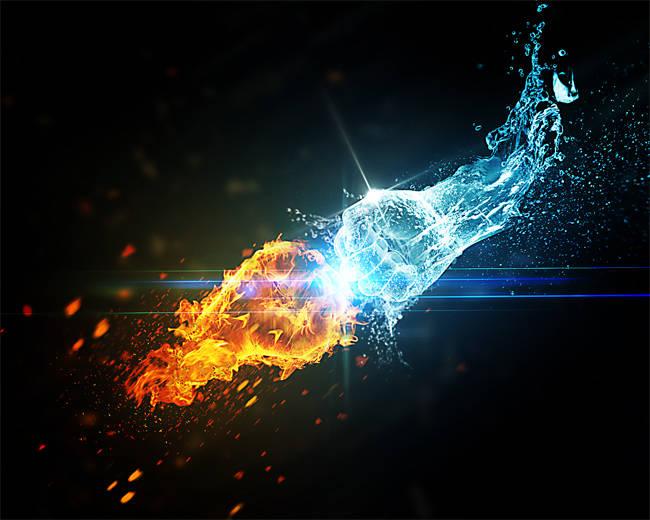Le choc des éléments, l'eau contre le feu