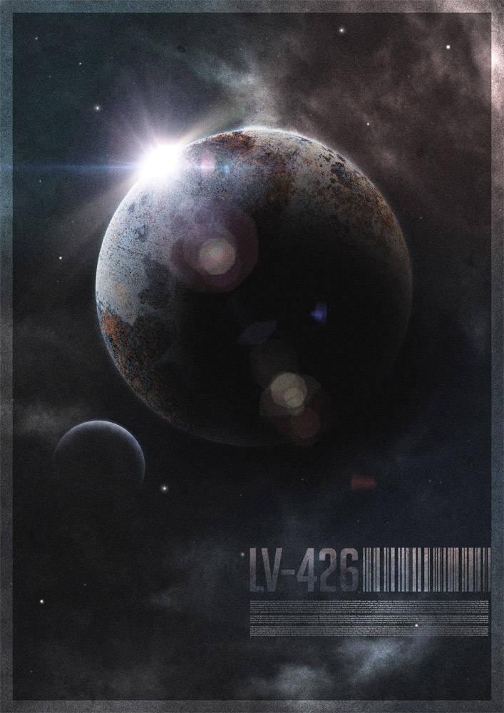 Poster rétro-futuriste de l'espace