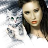 miniature La fille au chat