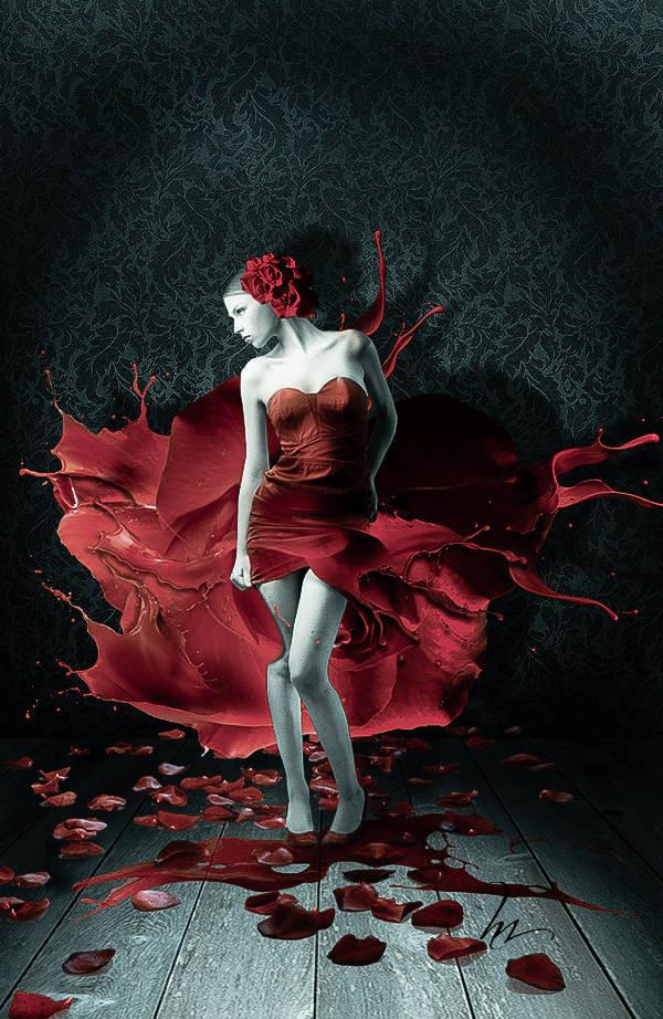 Rose et splashs