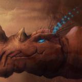 miniature Digital painting rhinocéros