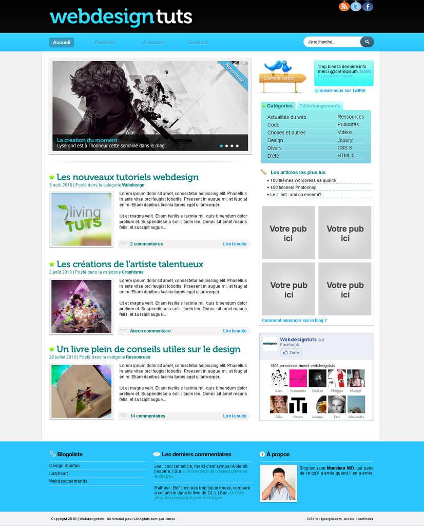 Web design de blog aéré